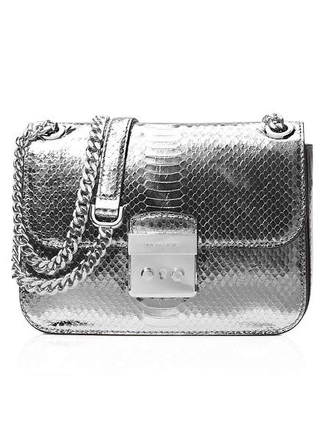 Michael Michael Kors Women's Sloane Editor Mid Chain Python Shoulder Bag by Michael Kors - My100Brands
