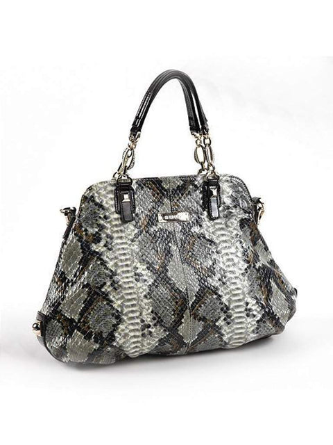 Roxbury Xyliah Square Stud Python Convertible Leather Tote by Roxbury - My100Brands