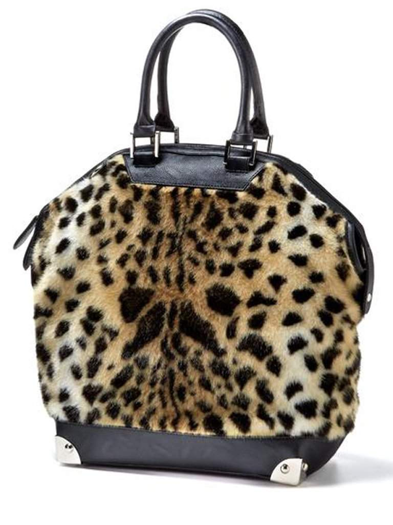 Leopard Faux Fur Bowler Bag by Fabulous-Furs - My100Brands