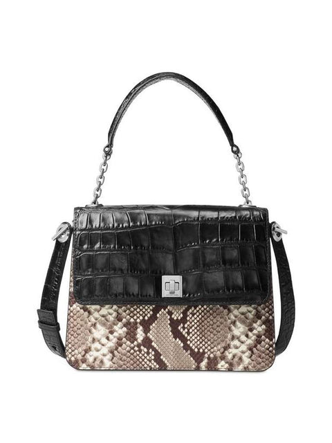 Michael Kors Natalie Large Top Handle Embossed Python Satchel by Michael Kors - My100Brands