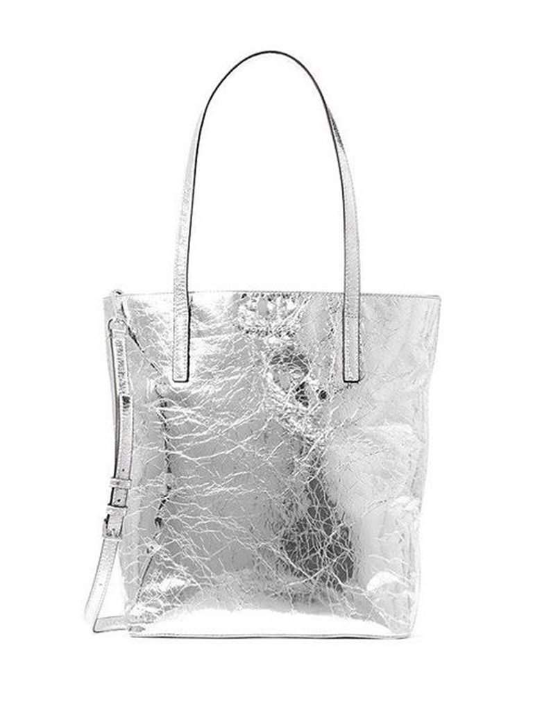 19ce2ac545fa Michael Kors Shoulder Tote Handbag Silver Metallic Crinkled Leather by Michael  Kors - My100Brands