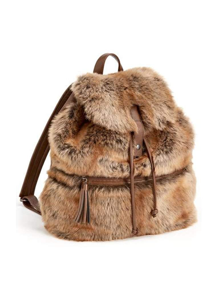 Coyote Faux Fur Backpack by My100Brands - My100Brands
