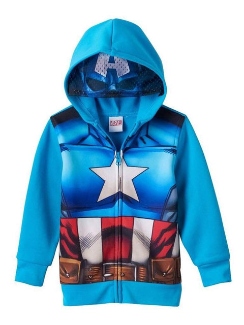 Boy's Marvel Captain America Eye Mask Hoodie by My100Brands - My100Brands
