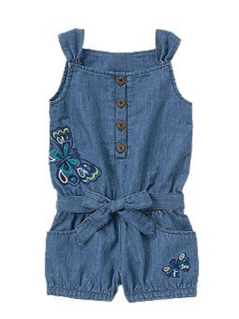 Butterfly Chambray Romper by My100Brands - My100Brands