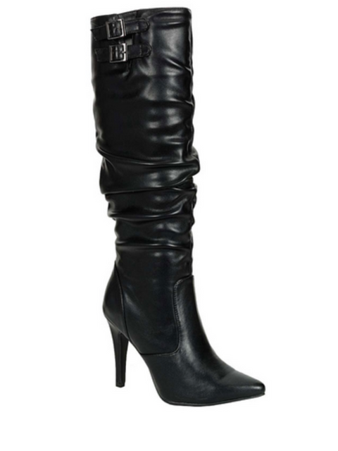 Breckelle's Brandi 12 Buckle Detail Scrunched Riding Boots by My100Brands - My100Brands