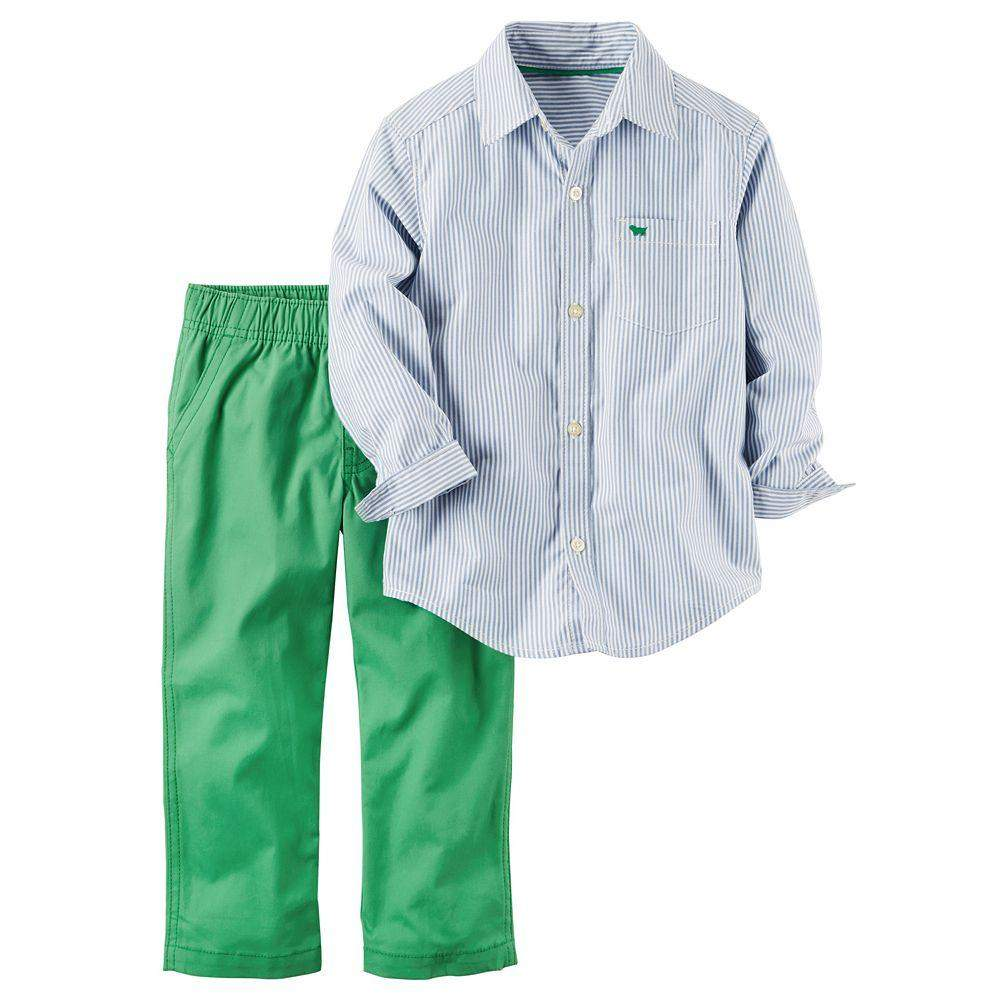 Carter's Striped Button-Down Poplin Shirt and Canvas Pants Set by Carters - My100Brands