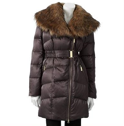 Jennifer Lopez Satin Down Puffer Jacket - Brown by Jennifer Lopez - My100Brands