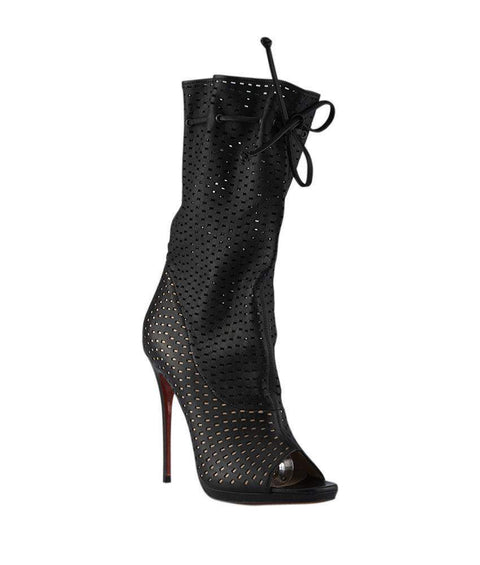 Christian Louboutin Jennifer 120 Black Leather Ankle Boots-My100Brands