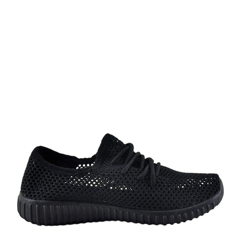 Qupid Reckless 02X Mesh Fabric Lace Up Slip On Sneakers-My100Brands