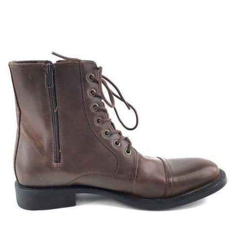 Kenneth Cole Unlisted Blind Turn Brown Zip Combat Boots-My100Brands