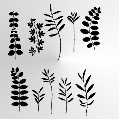 WILD Leaves Grass Reusable Stencil A3 A4 A5 & Bigger Sizes Shabby Chic Nature Mylar / Wild2