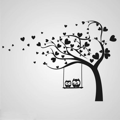 LOVE HEARTS TREE & OWLS KIDS ROOM VALENTINE'S Sizes Reusable Stencil Animal Happy Modern 'Kids7'