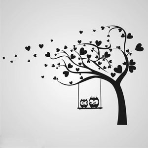 LOVE HEARTS TREE & OWLS KIDS ROOM Sizes Reusable Stencil Animal Happy Modern 'Kids7'