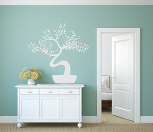 TREE WITH LEAVES PLANT POT Big & Small Sizes Colour Wall Sticker Animal Modern Contemporary Style 'Tree70'