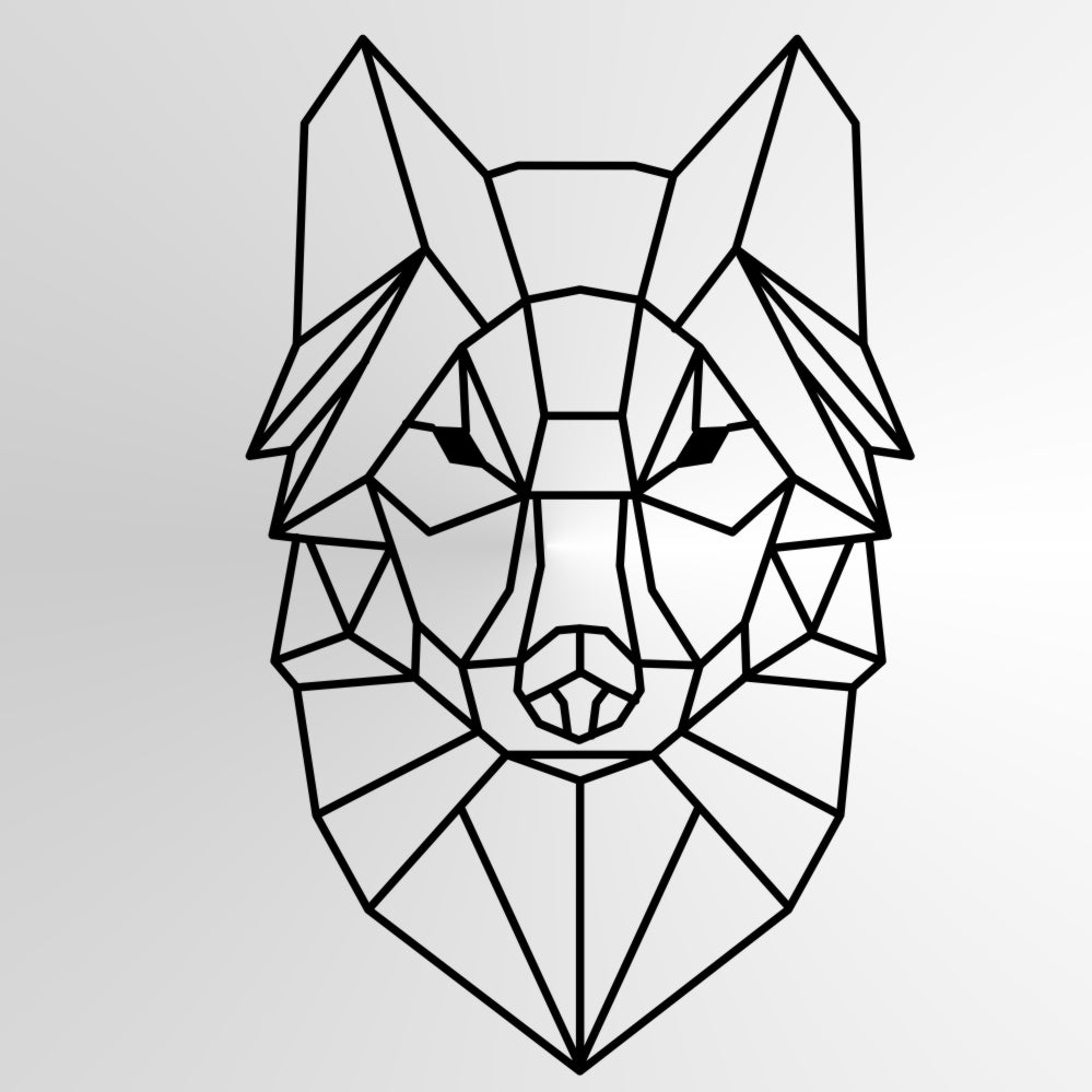 GEOMETRIC WOLF Sizes Reusable Stencil Animal Modern Contemporary Style 'Geo2'