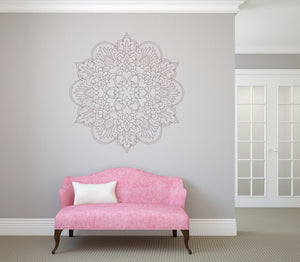 Mandala Hearts Flowers Big & Small Sizes Colour Wall Sticker Oriental Modern Travel / M10