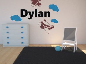 CUSTOM BOY'S NAME Big Sizes Colour Wall Sticker Modern Kids room Bedroom 'DYLAN'
