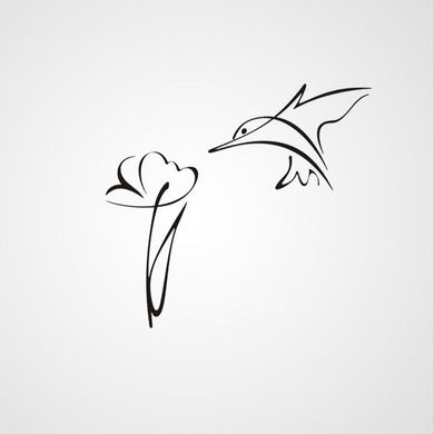 ARTISTIC HUMMING-BIRD & FLOWER SKETCH Sizes Reusable Stencil Animal Romantic 'Kids55'