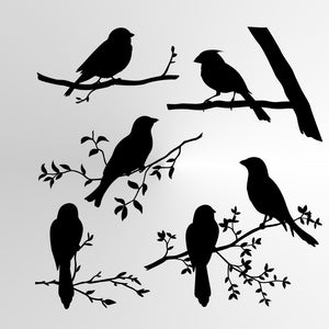 SET OF BIRDS Reusable Stencil A3 A4 A5 & Bigger Sizes Shabby Chic Nature Mylar / BIRD6