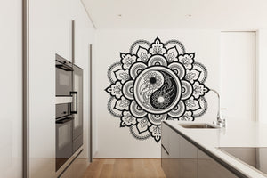 MANDALA STAR MEDALLION YIN YANG Big & Small Sizes Colour Wall Sticker Oriental Modern 'Mandala4'