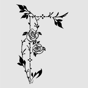 ROSES CORNER BORDER ORNAMENT Sizes Reusable Stencil Shabby Chic 'Flora4_027'