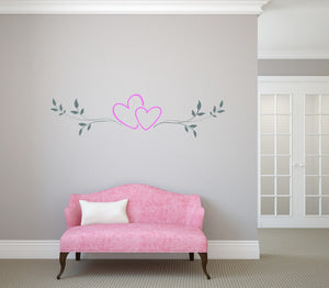 SET OF HEARTS BORDERS Big & Small Sizes Colour Wall Sticker Shabby Chic Romantic Style 'Deco3'