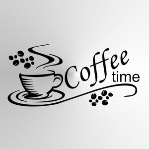 KITCHEN FRESH COFFEE, 'COFFEE TIME' QUOTE Big & Small Sizes Colour Wall Sticker Modern Style 'Cafe7'
