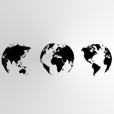 THREE GLOBES Sizes Reusable Stencil Oriental Exotic World Map Globe Travel Modern Style 'P21'
