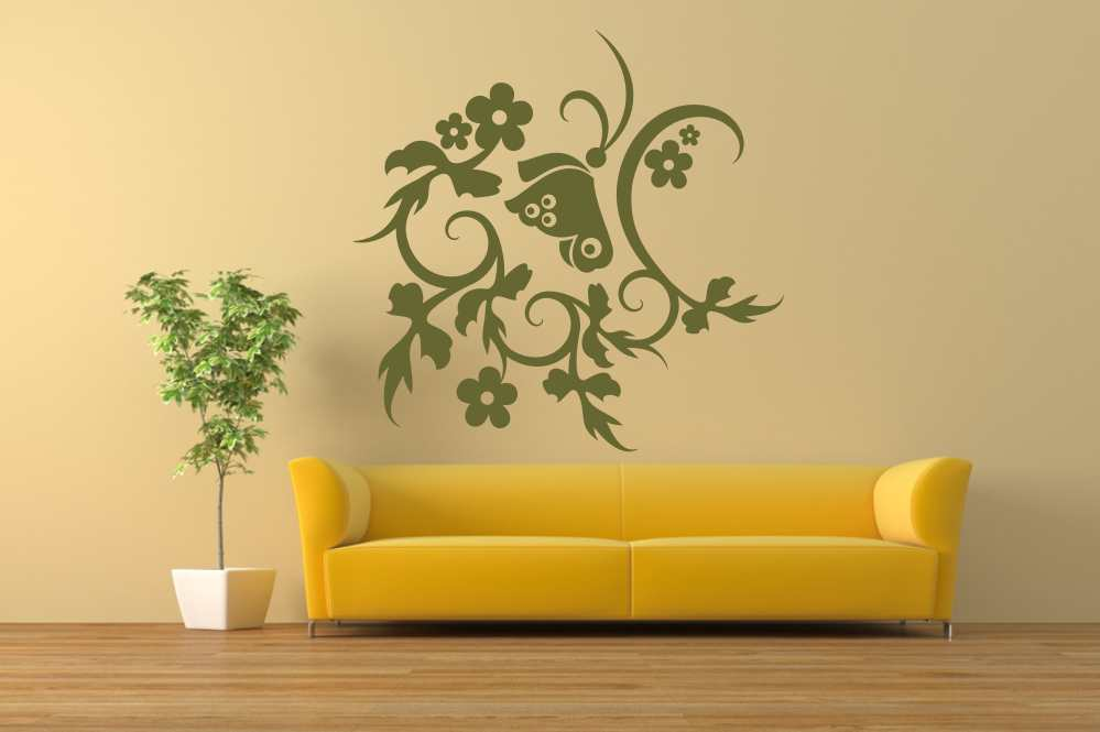 ARTISTIC FLOWERS & BUTTERFLY Big & Small Sizes Colour Wall Sticker Shabby Chic Romantic Style 'CH28'
