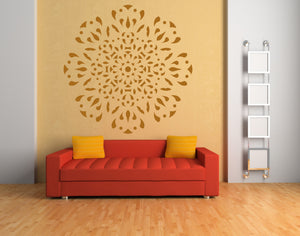 FLOWER STAR ROUND MANDALA  Big & Small Sizes Colour Wall Sticker Oriental Modern / M23