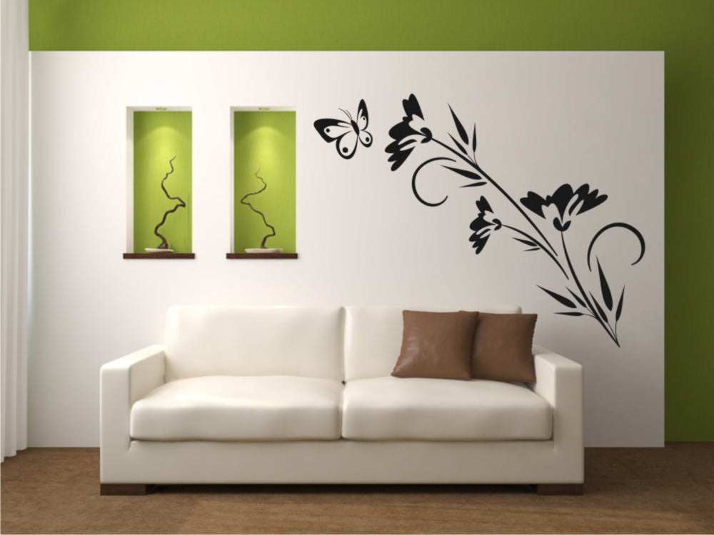 CORNFLOWERS FLOWERS & BUTTERFLY Big & Small Sizes Colour Wall Sticker Shabby Chic 'J44'