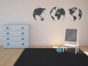 THREE GLOBES Big & Small Sizes Colour Wall Sticker Travel Oriental Modern Style 'P21'