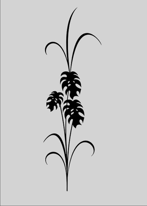 BIG LEAVES MONSTERA PLANT Sizes Reusable Stencil Shabby Chic Romantic Style 'J0'