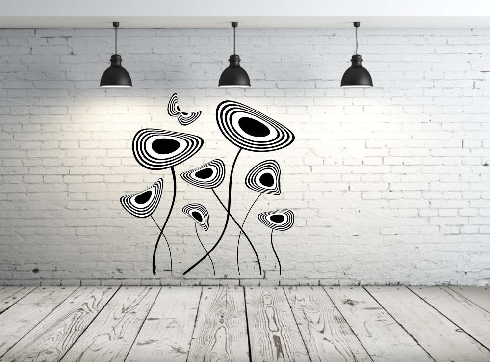 MODERN FLOWERS RINGS & BUTTERFLY Big & Small Sizes Colour Wall Sticker Modern Romantic Style 'NO5'