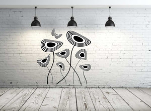 MODERN FLOWERS RINGS & BUTTERFLY Big & Small Sizes Colour Wall Sticker Modern 'NO5'