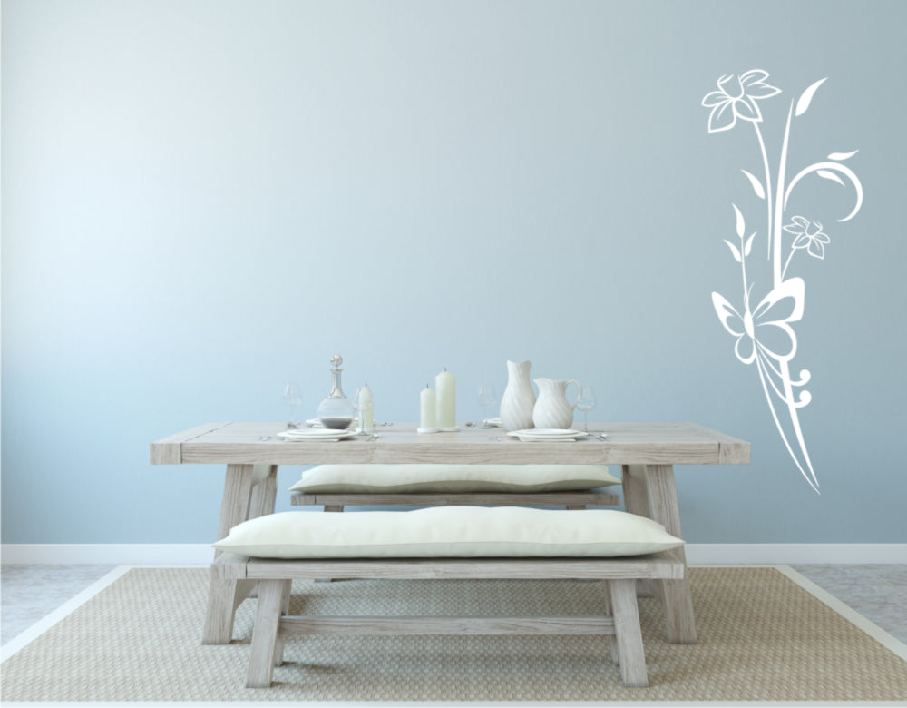 SPRING DAFFODILS BUNCH & BUTTERFLY Big & Small Sizes Colour Wall Sticker Shabby Chic 'J46'