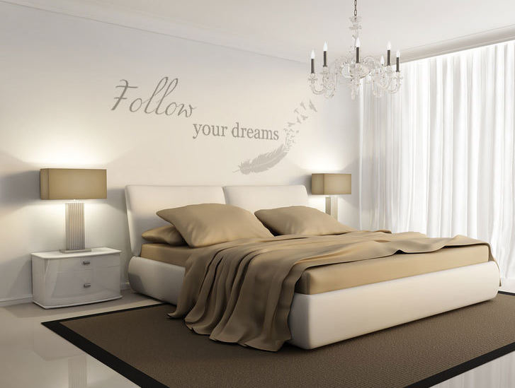 'FOLLOW YOUR DREAMS' FEATHERS QUOTE Big & Small Sizes Colour Wall Sticker Shabby Chic 'N2'