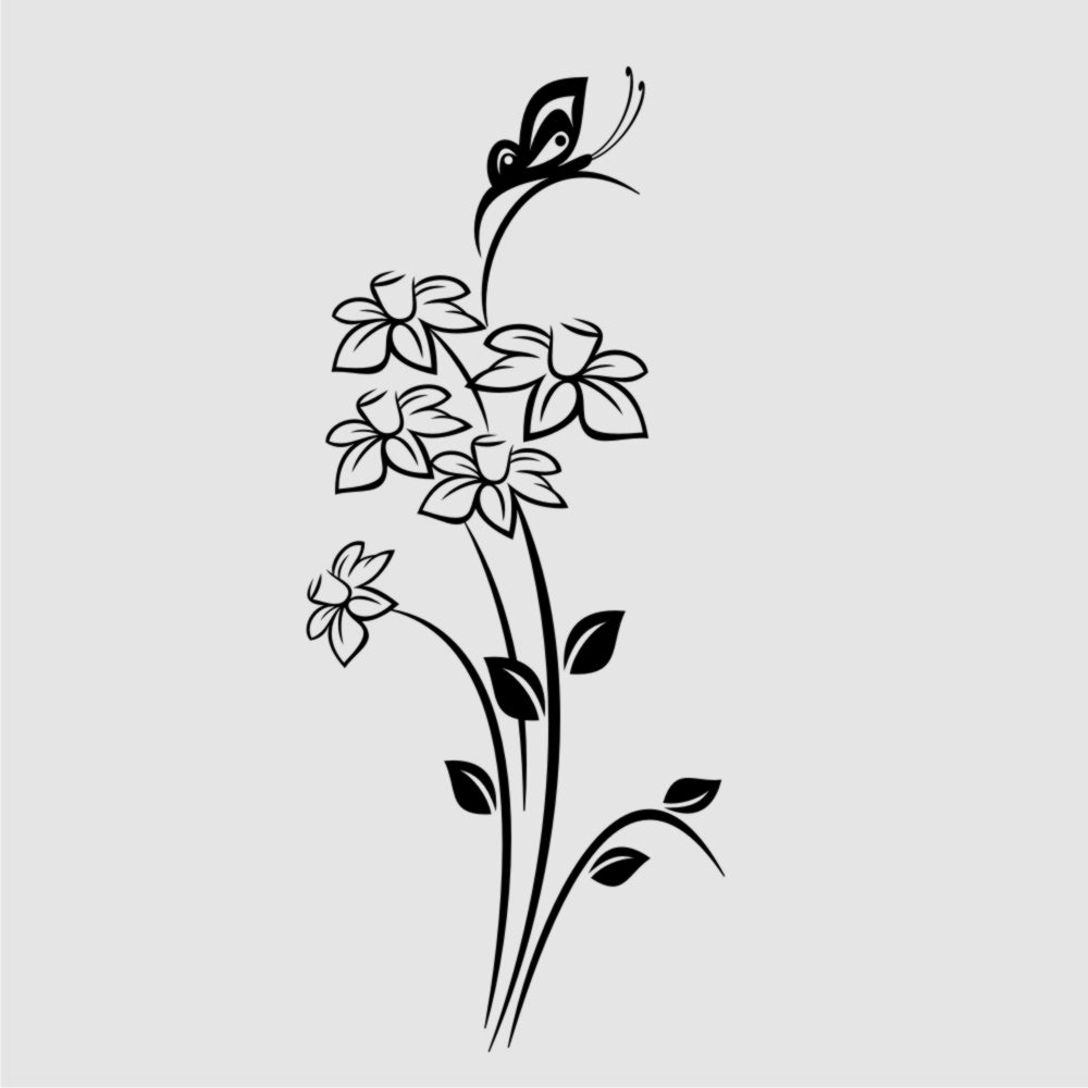 SPRING DAFFODILS BOUQUET & BUTTERFLY Sizes Reusable Stencil Shabby Chic Romantic 'J21'