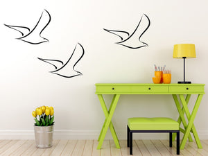 SEAGULL ARTISTIC SKETCH Big & Small Sizes Colour Wall Sticker Animal Modern Style 'Kids56'