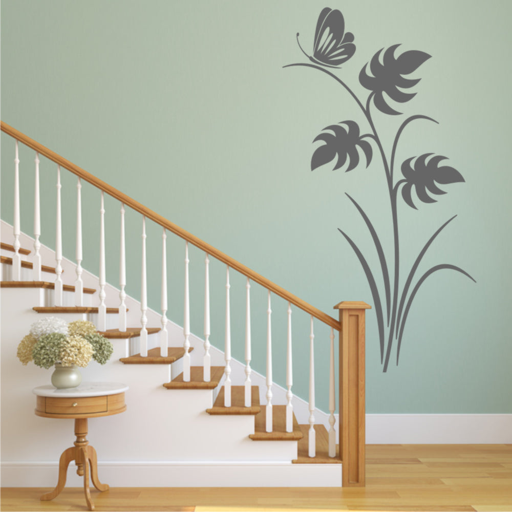 MONSTERA BIG EXOTIC LEAVES & BUTTERFLY Big & Small Sizes Colour Wall Sticker Shabby Chic 'J81