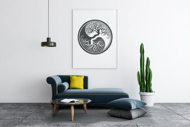 TREE OF LIFE Yin Yang MANDALA Big & Small Colour Wall Sticker Floral Modern Bohemian 'Tree of life2'