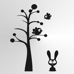 TREE BIRDS & RABBIT KIDS ROOM Sizes Reusable Stencil Animal Happy Floral 'Kids58'