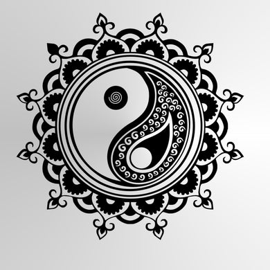 YIN YANG MANDALA ROUND MEDALLION Big & Small Sizes Colour Wall Sticker Oriental Modern 'YinYang