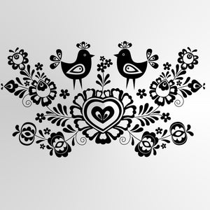 FOLKLORE LOVE ROOSTERS Sizes Reusable Stencil Ornaments Valentine's Romantic Style 'Folk2'