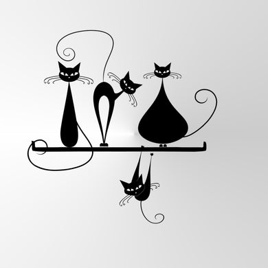 CRAZY CATS FOR KIDS ROOM Sizes Reusable Stencil Animal Romantic Style 'Funny Cats'