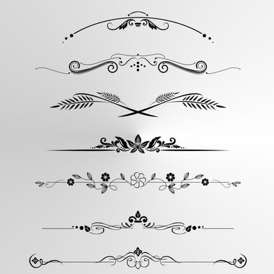 SET OF BORDERS BAROQUE ORNAMENTS Sizes Reusable Stencil Shabby Chic  'Deco2'