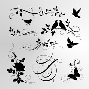 BIRDS & FLOWERS SET Reusable Stencil A3 A4 A5 & Bigger Sizes Valentine's Shabby Chic Nature Mylar / BIRD7