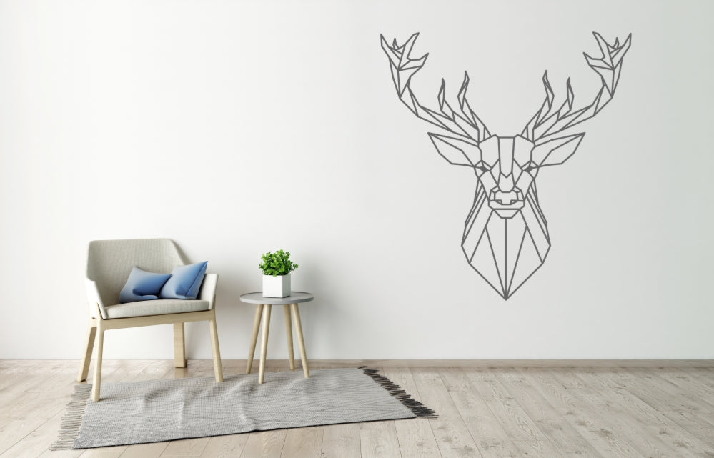GEOMETRIC DEER Big & Small Sizes Colour Wall Sticker Animal Modern Contemporary Style 'GEO1'