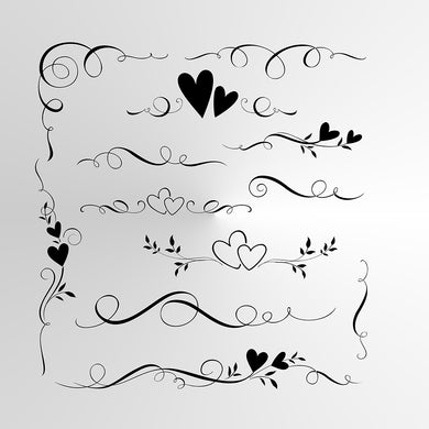 SET OF HEARTS BORDERS Sizes Reusable Stencil Shabby Chic Romantic Style Valentine's 'Deco3'