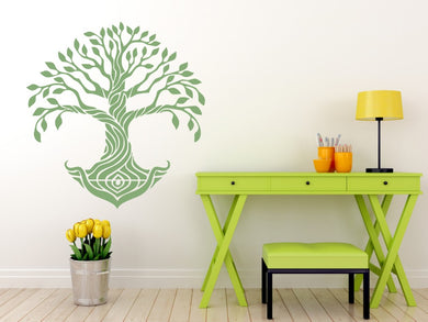 Tree of Life Big & Small Sizes Colour Wall Sticker OAK Roots Bohemian Mandala 'Treeoflife4'
